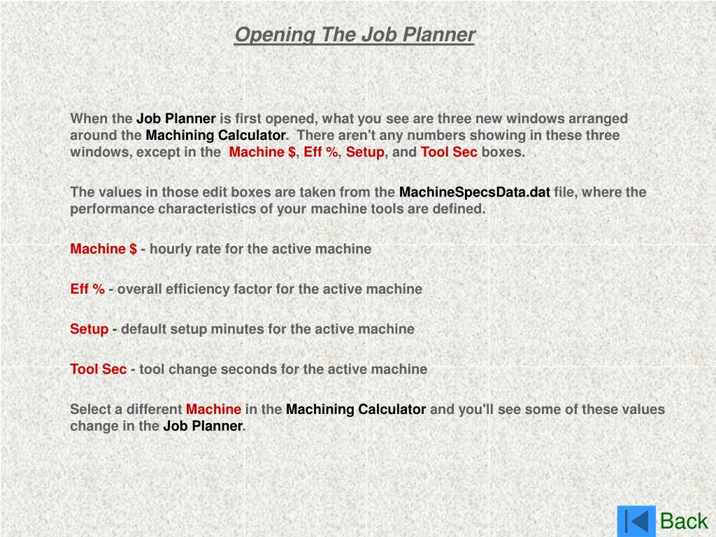 Opening The Job Planner