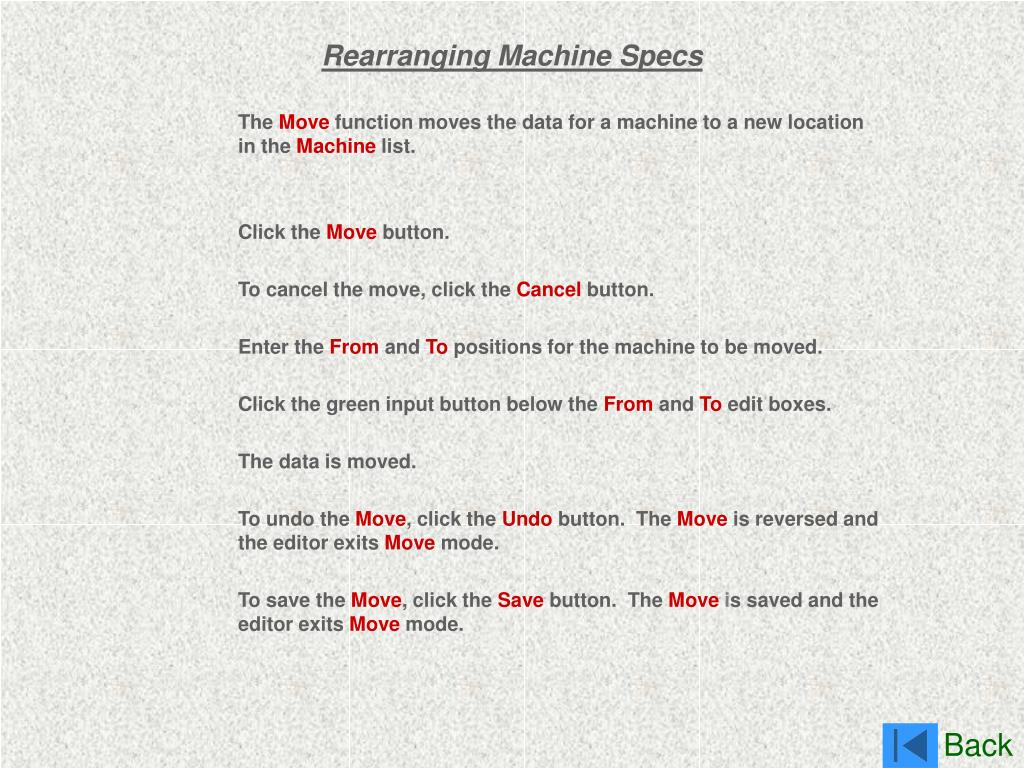 Rearranging Machine Specs