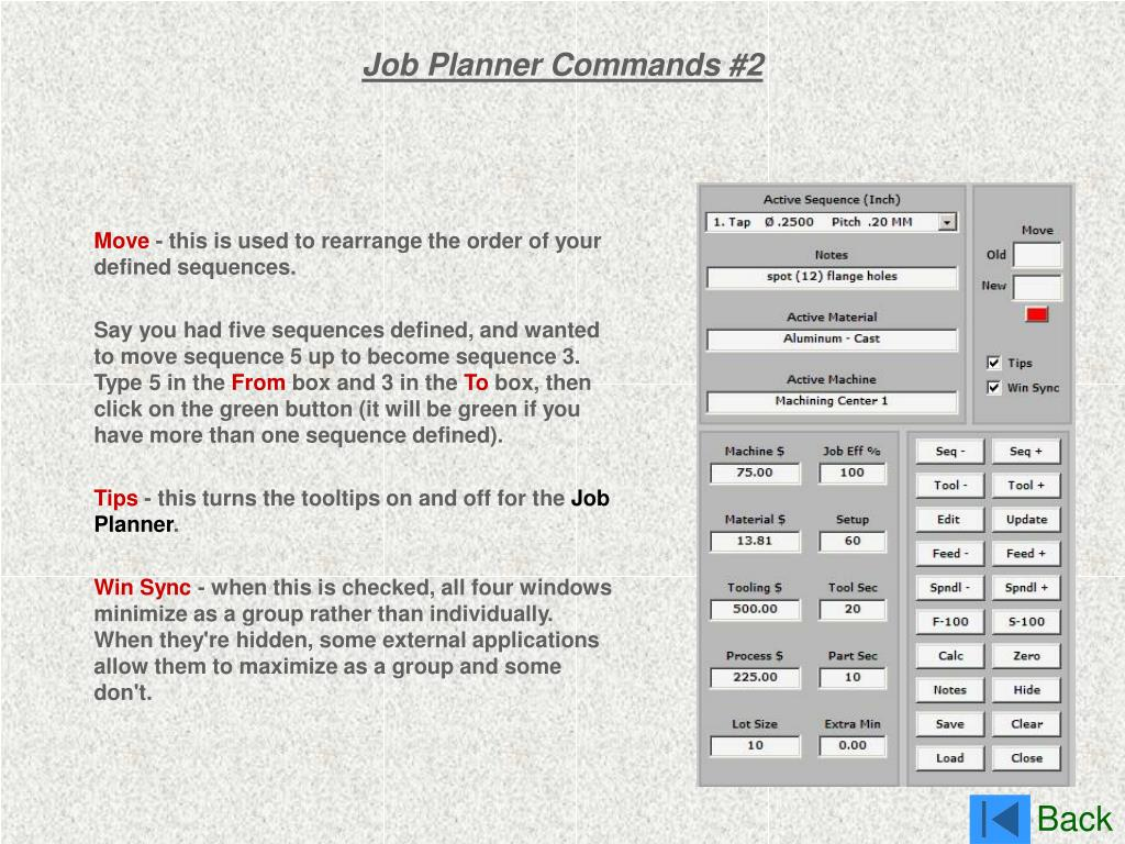 Job Planner Commands #2