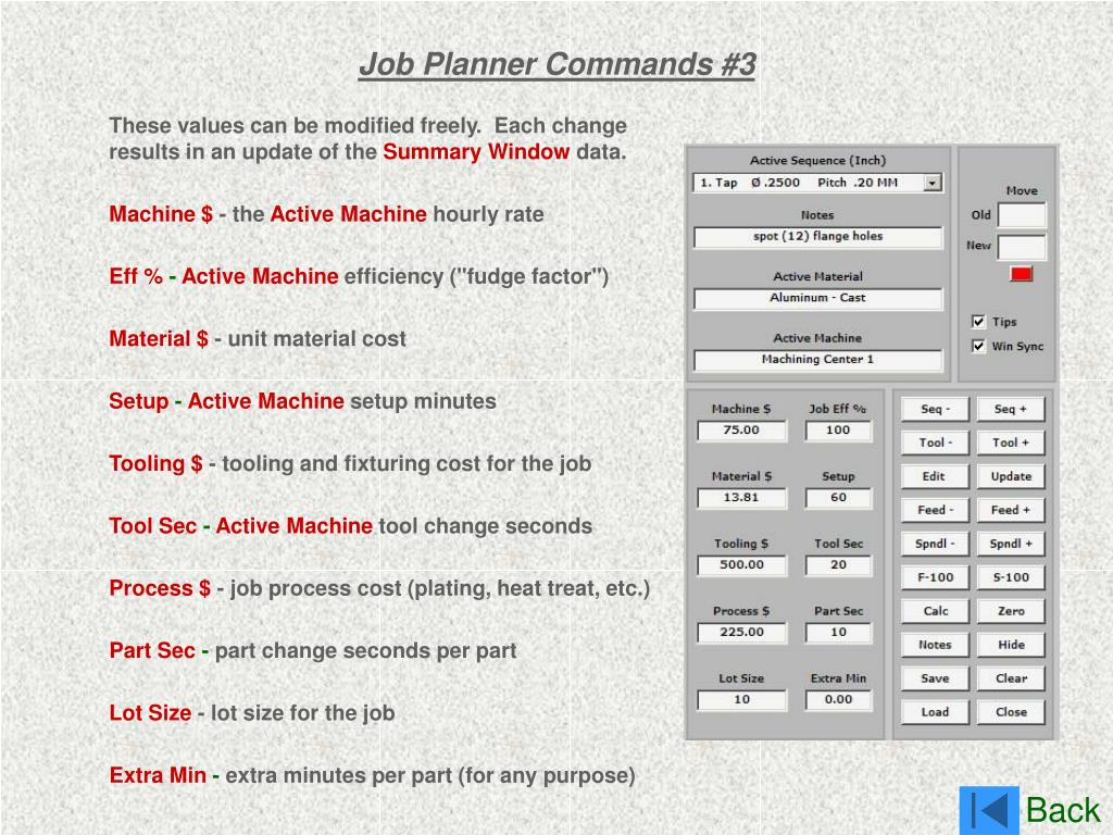 Job Planner Commands #3