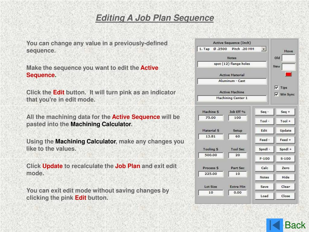 Editing A Job Plan Sequence
