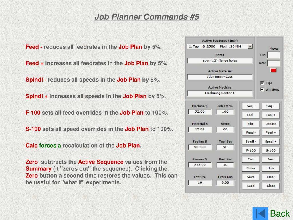 Job Planner Commands #5