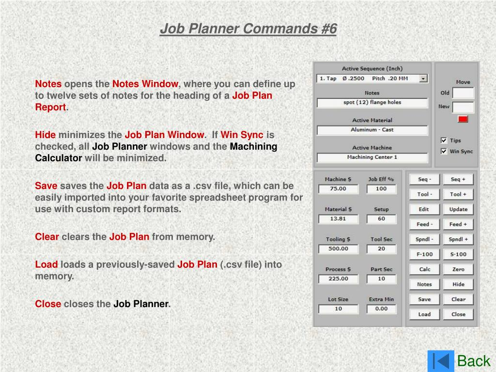 Job Planner Commands #6