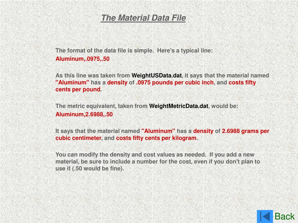 The Material Data File