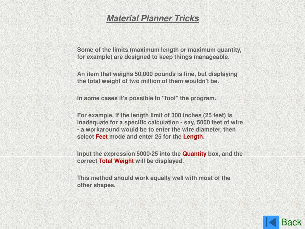 Material Planner Tricks