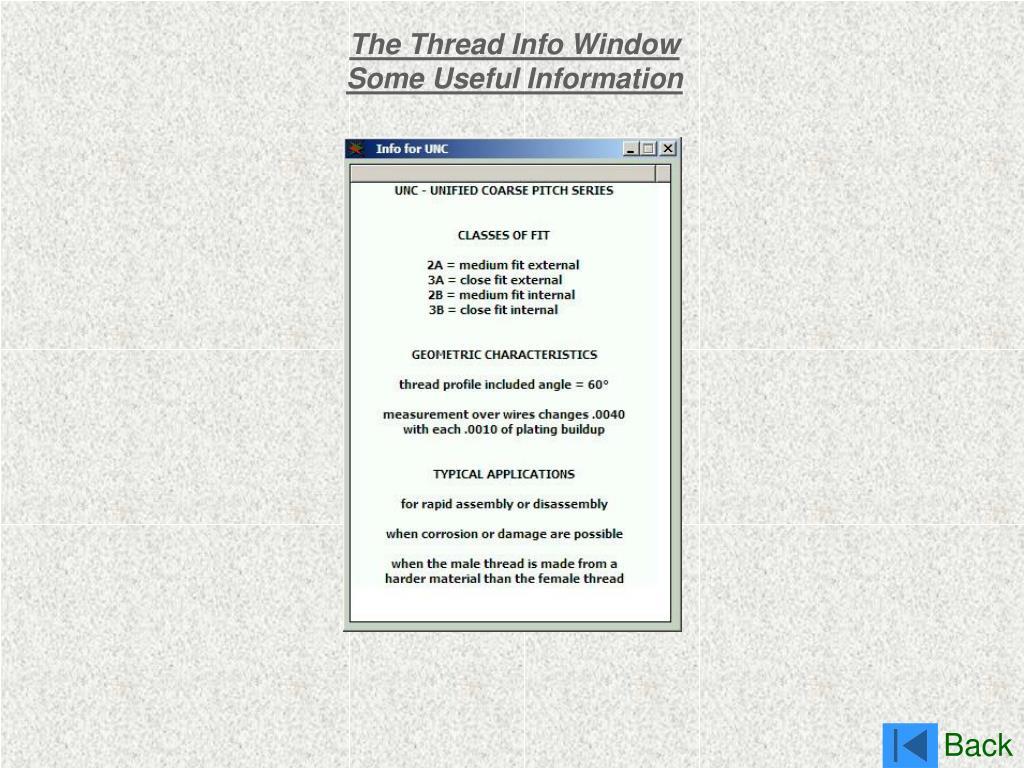The Thread Info Window