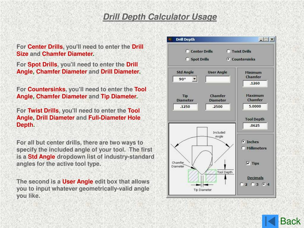 Drill Depth Calculator Usage