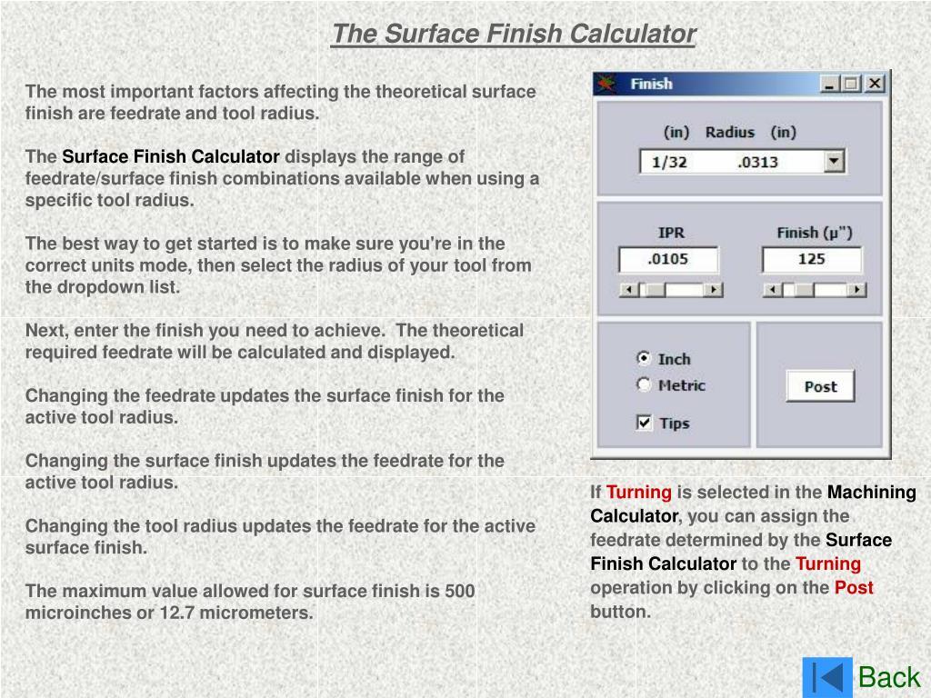 The Surface Finish Calculator