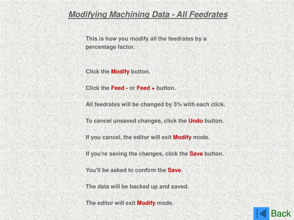 Modifying Machining Data - All Feedrates