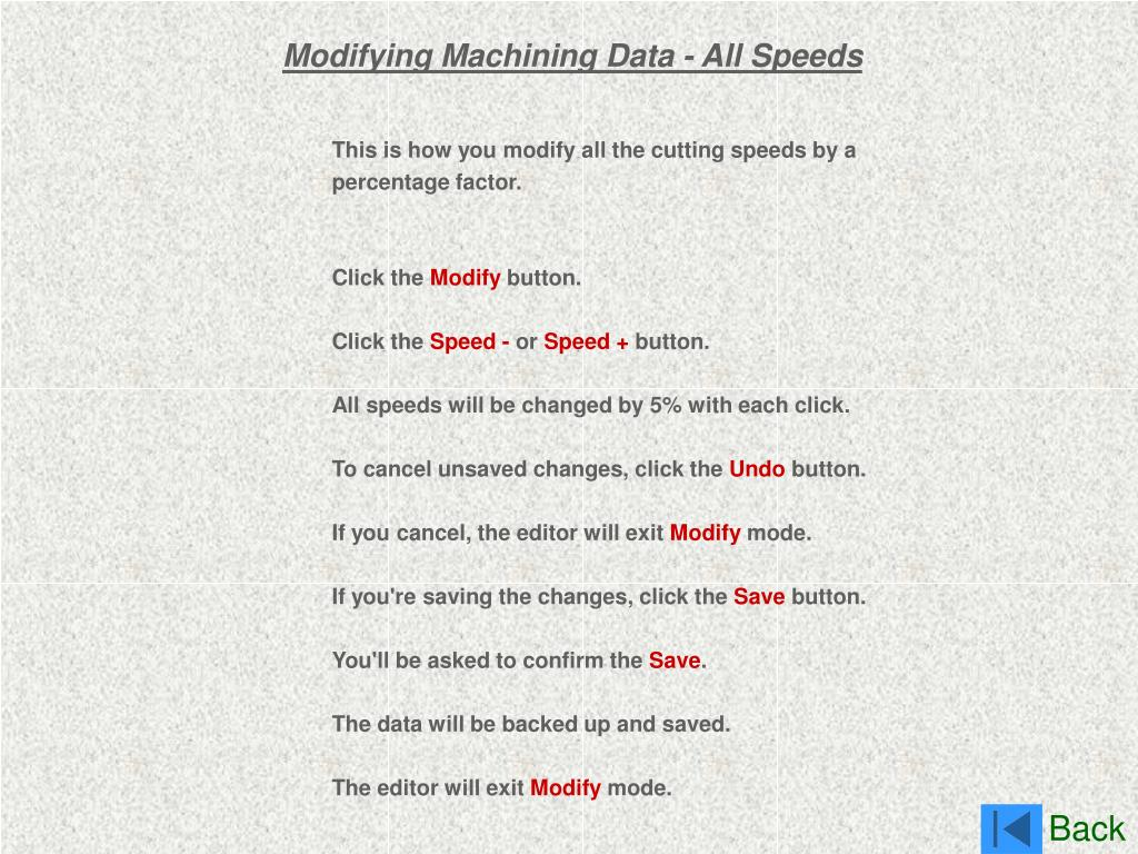 Modifying Machining Data - All Speeds