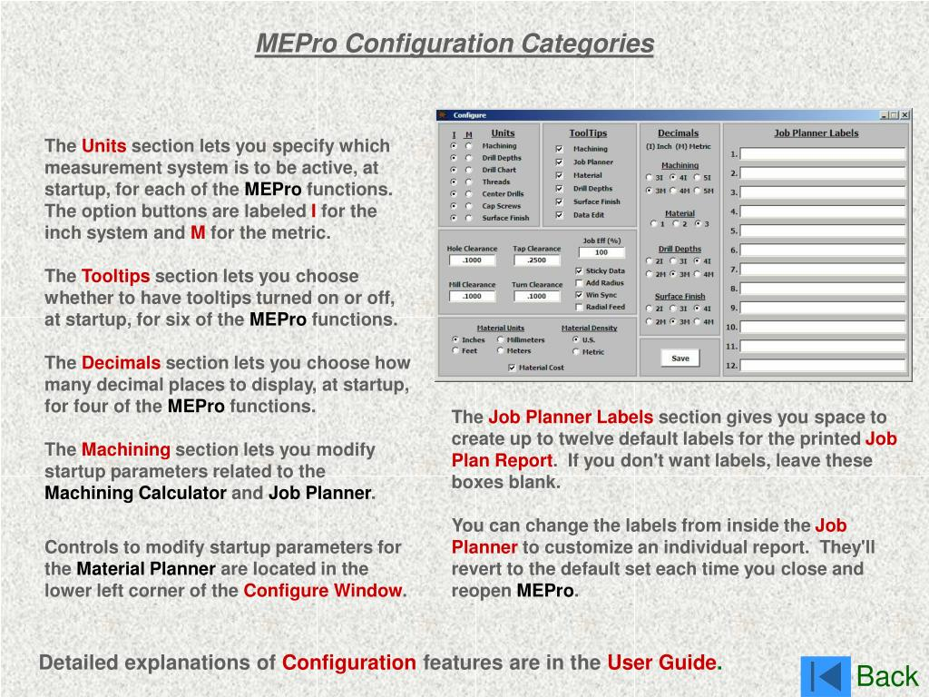 MEPro Configuration Categories