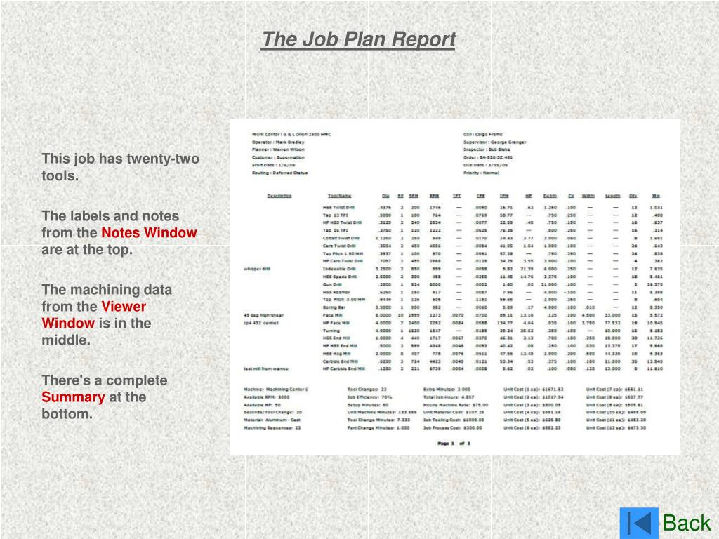 The Job Plan Report