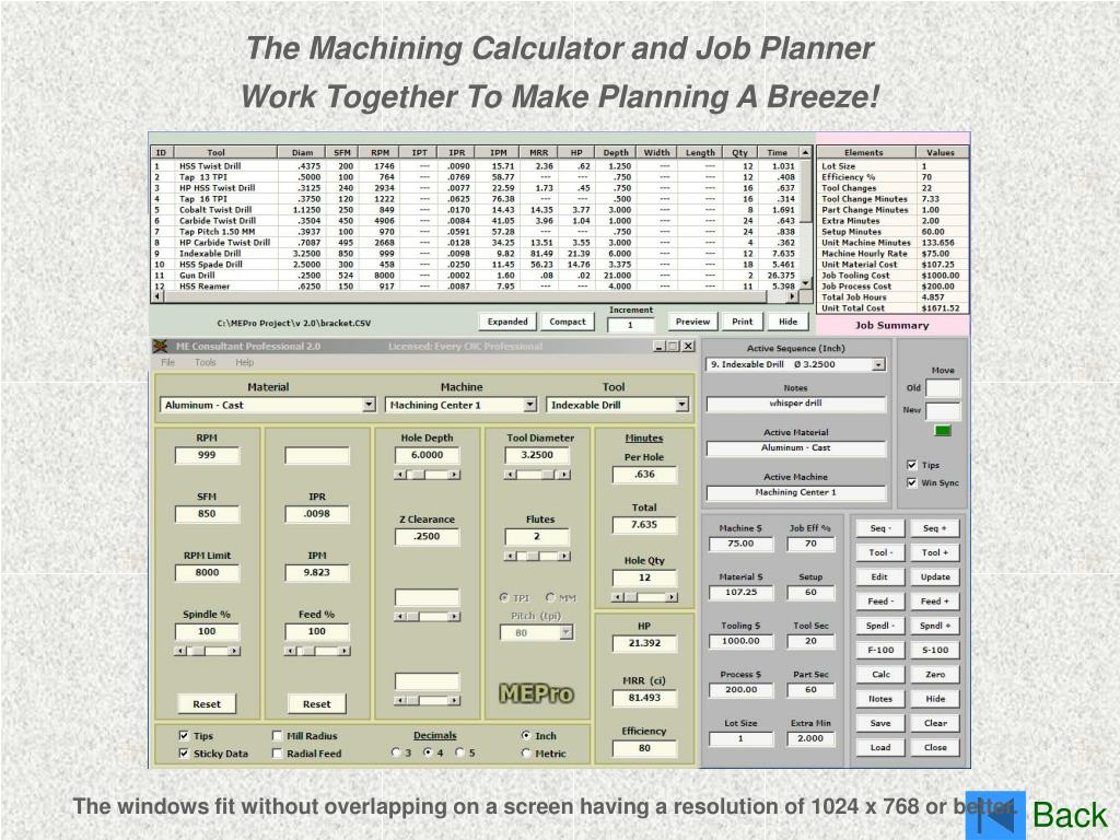 The Machining Calculator and Job Planner