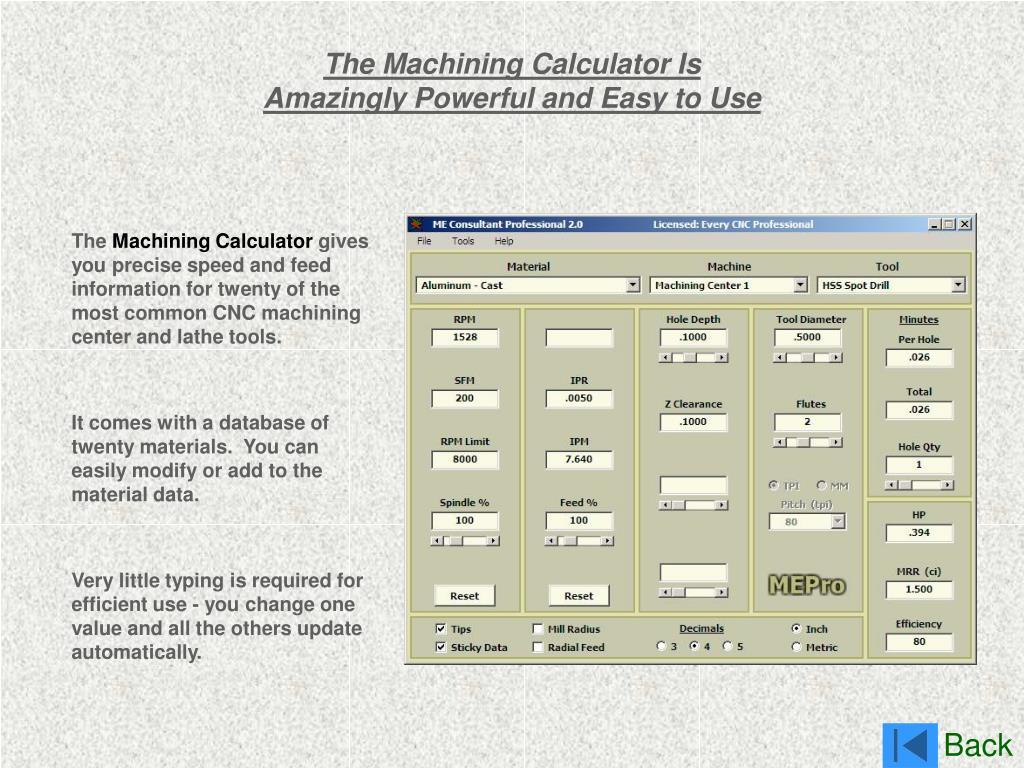 The Machining Calculator Is