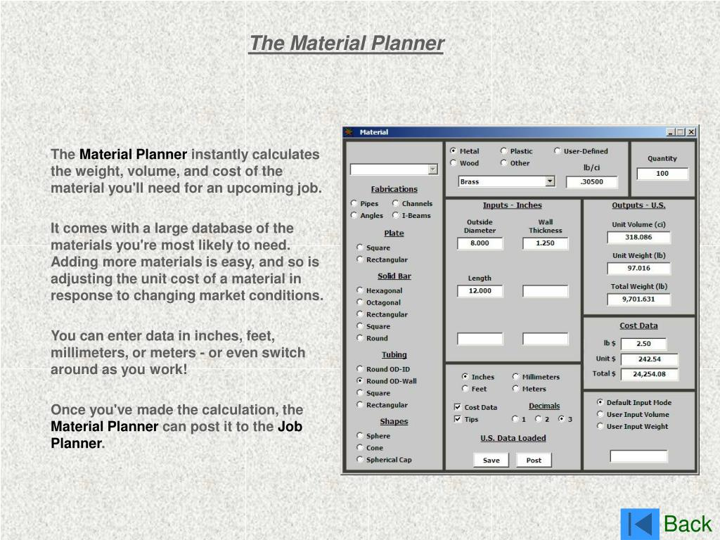 The Material Planner