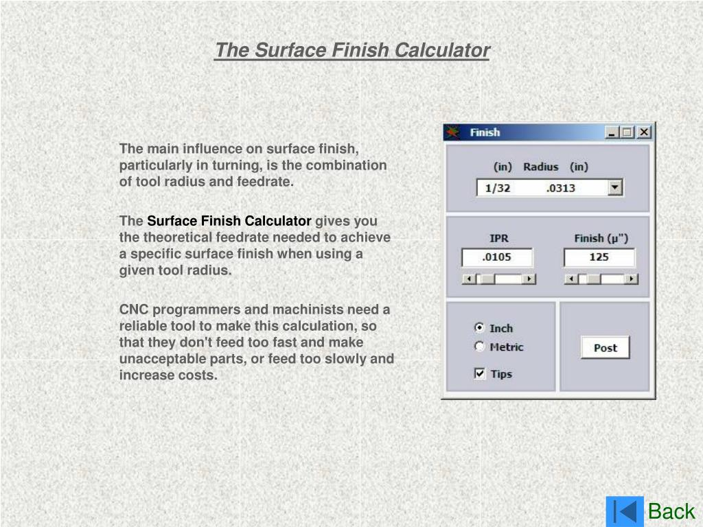 The Surface Finish Calculator