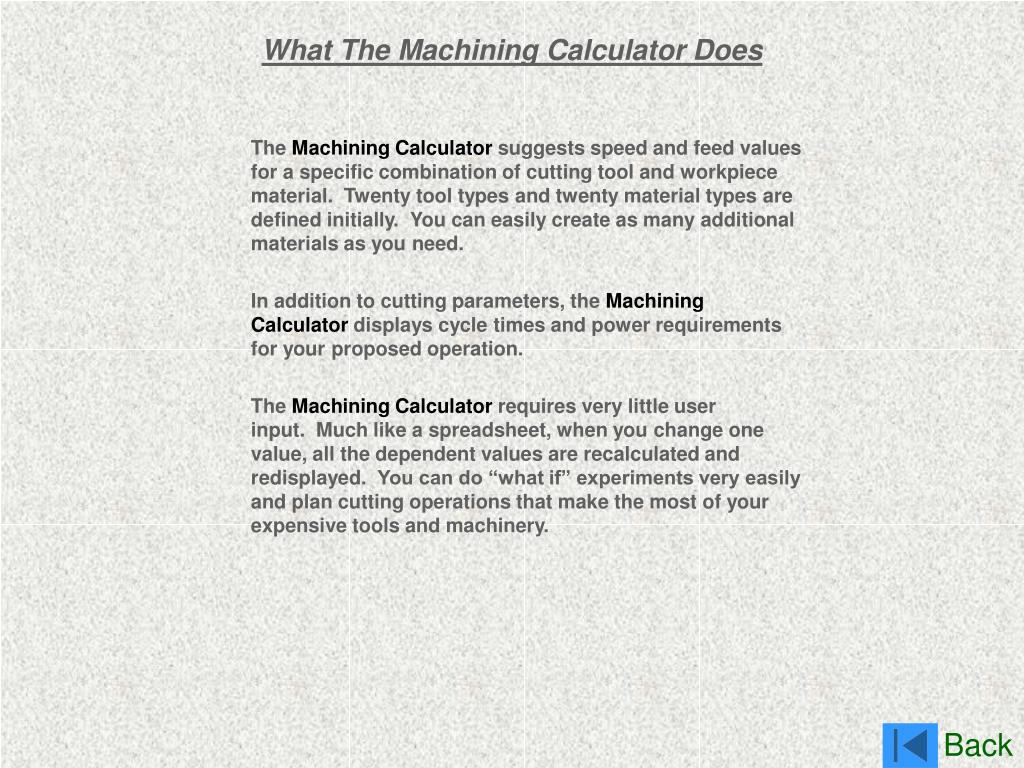 What The Machining Calculator Does