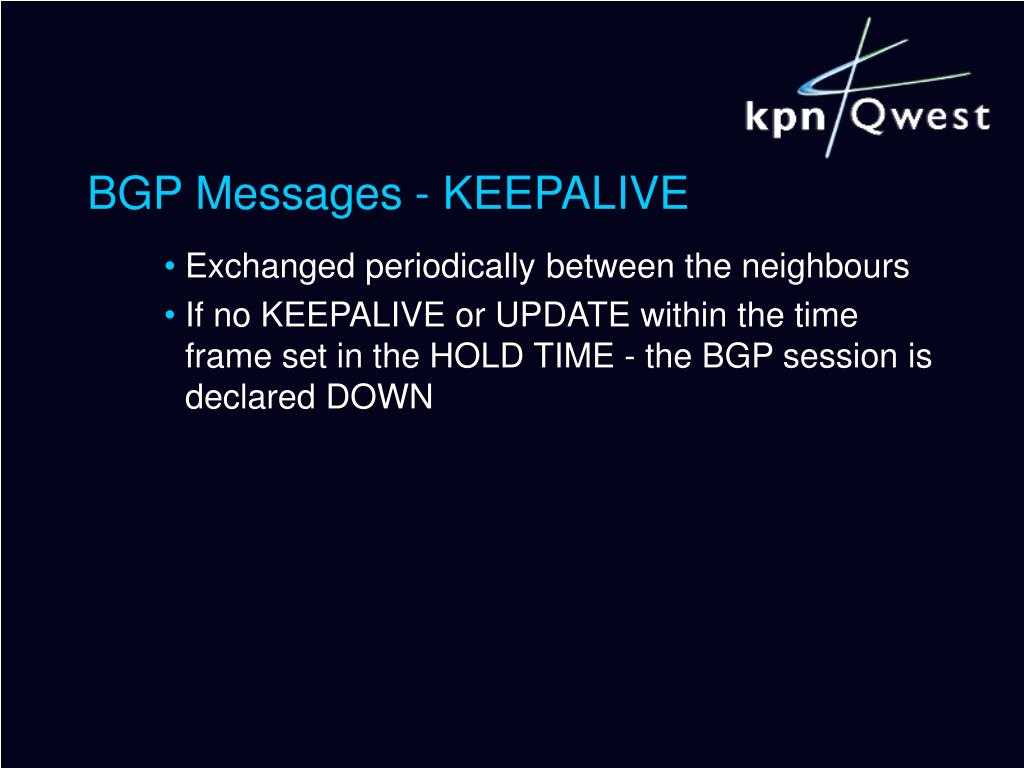 BGP Messages - KEEPALIVE