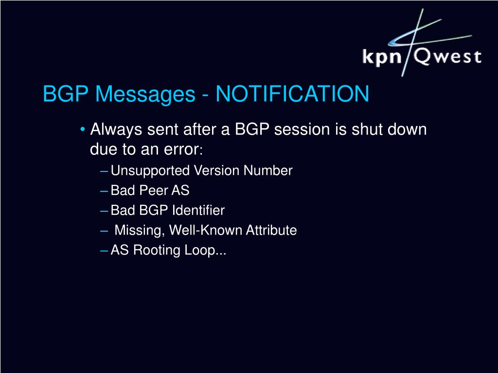 BGP Messages - NOTIFICATION