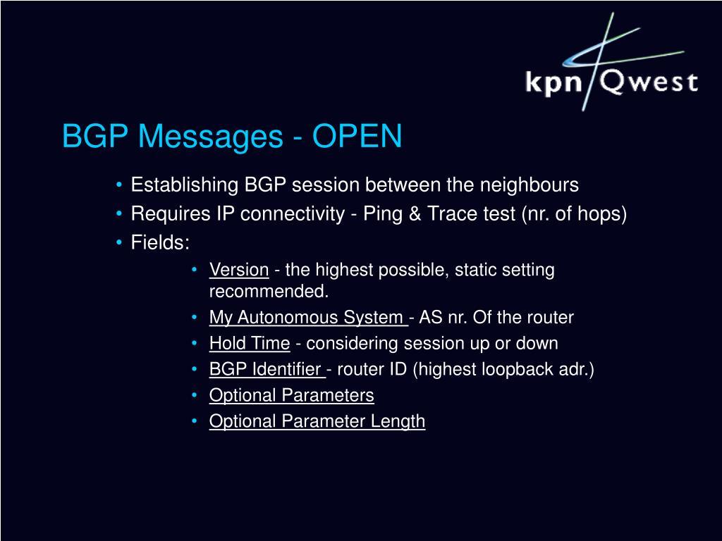 BGP Messages - OPEN