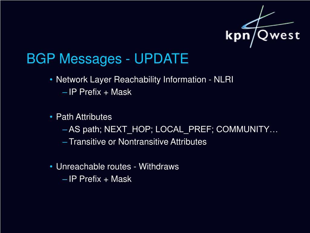 BGP Messages - UPDATE