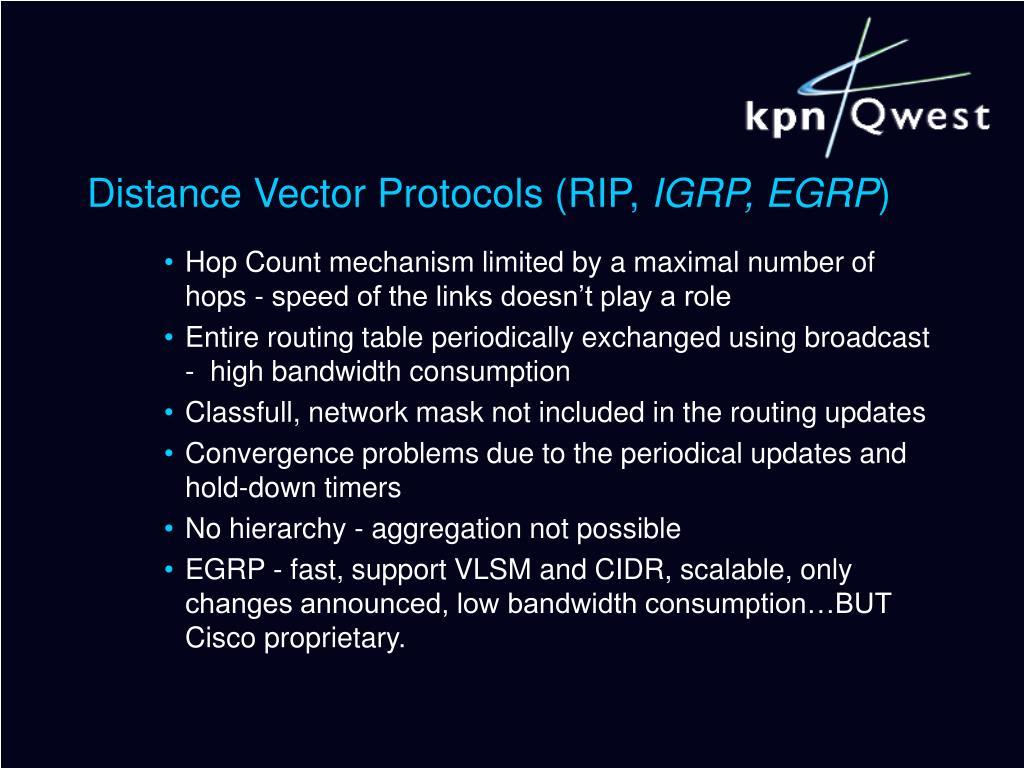 Distance Vector Protocols (RIP,
