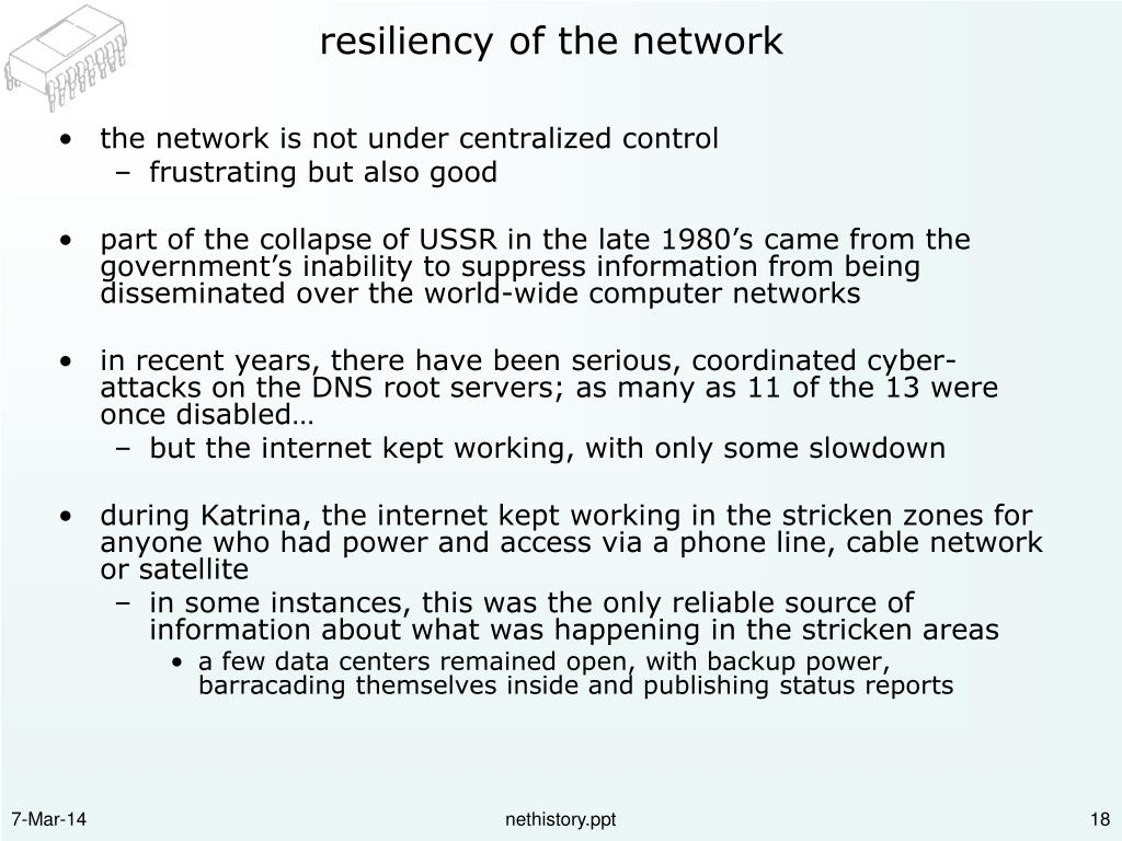 resiliency of the network