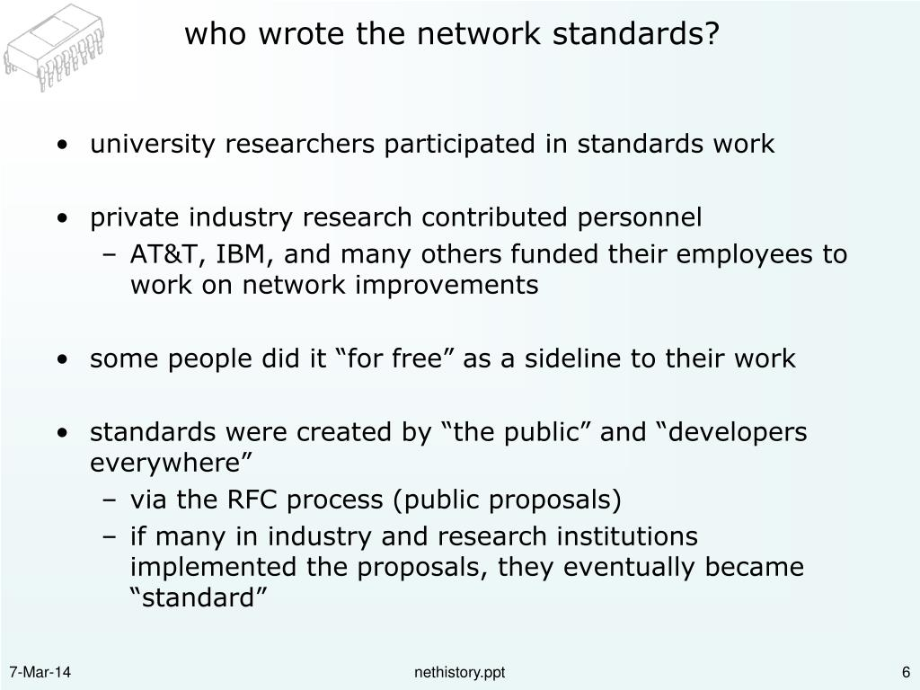 who wrote the network standards?