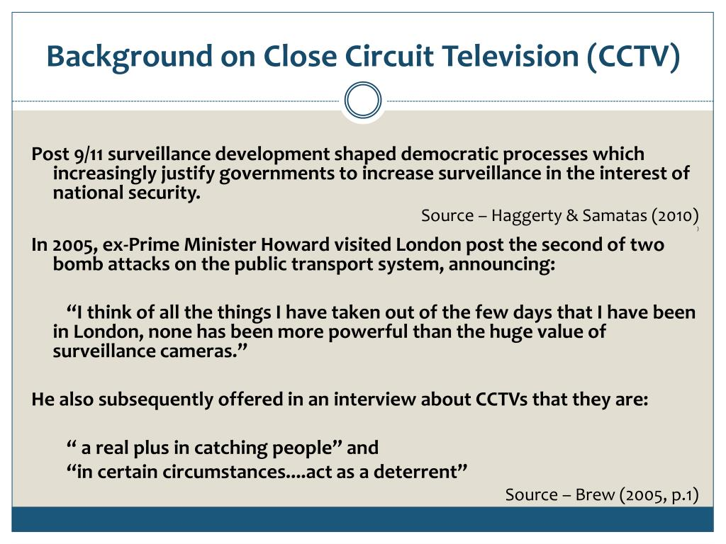Background on Close Circuit Television (CCTV)