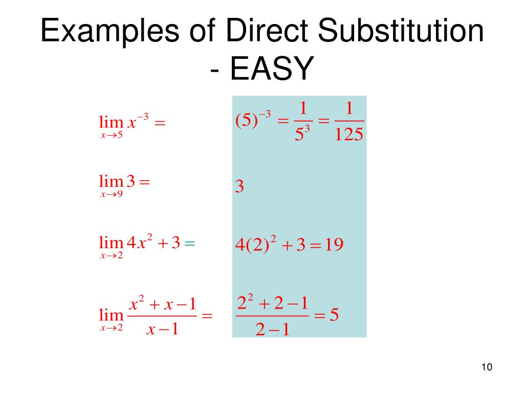 Examples of Direct Substitution - EASY