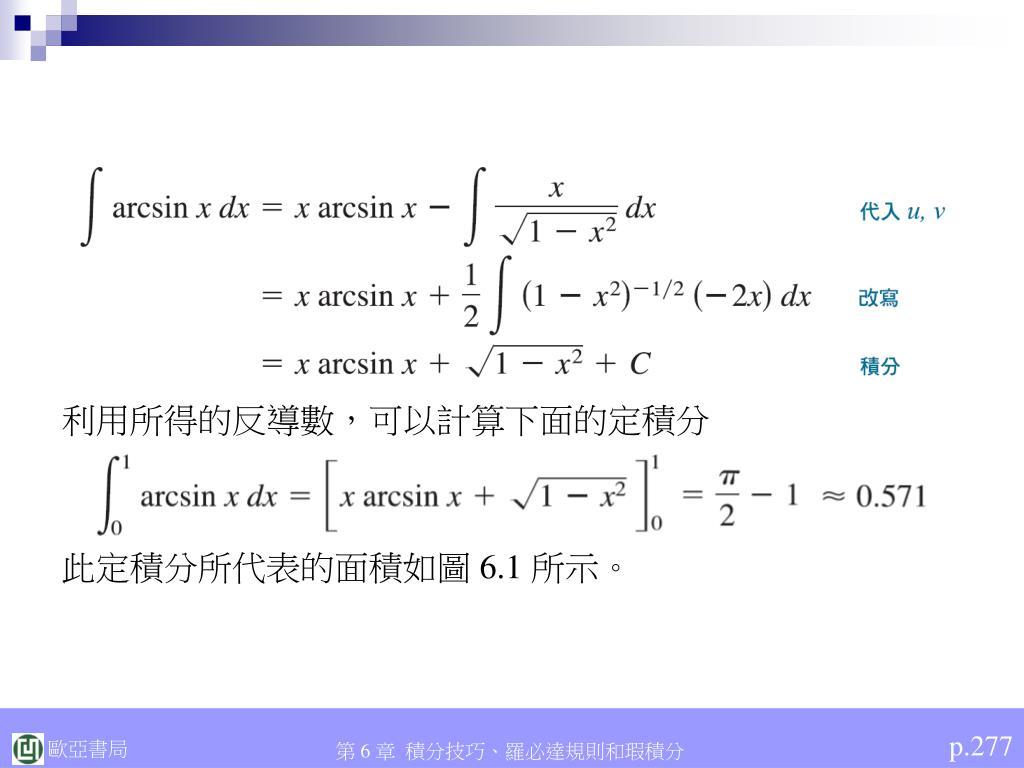 利用所得的反導數,可以計算下面的定積分