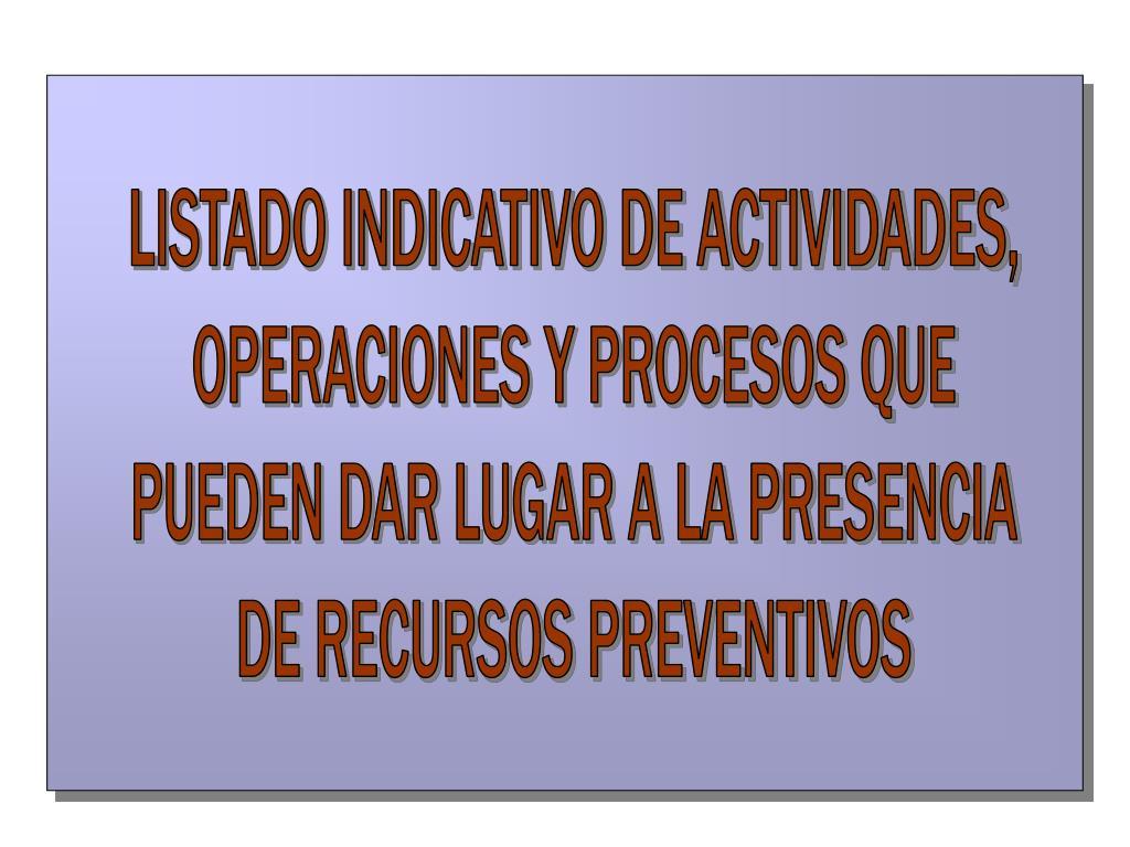 LISTADO INDICATIVO DE ACTIVIDADES,