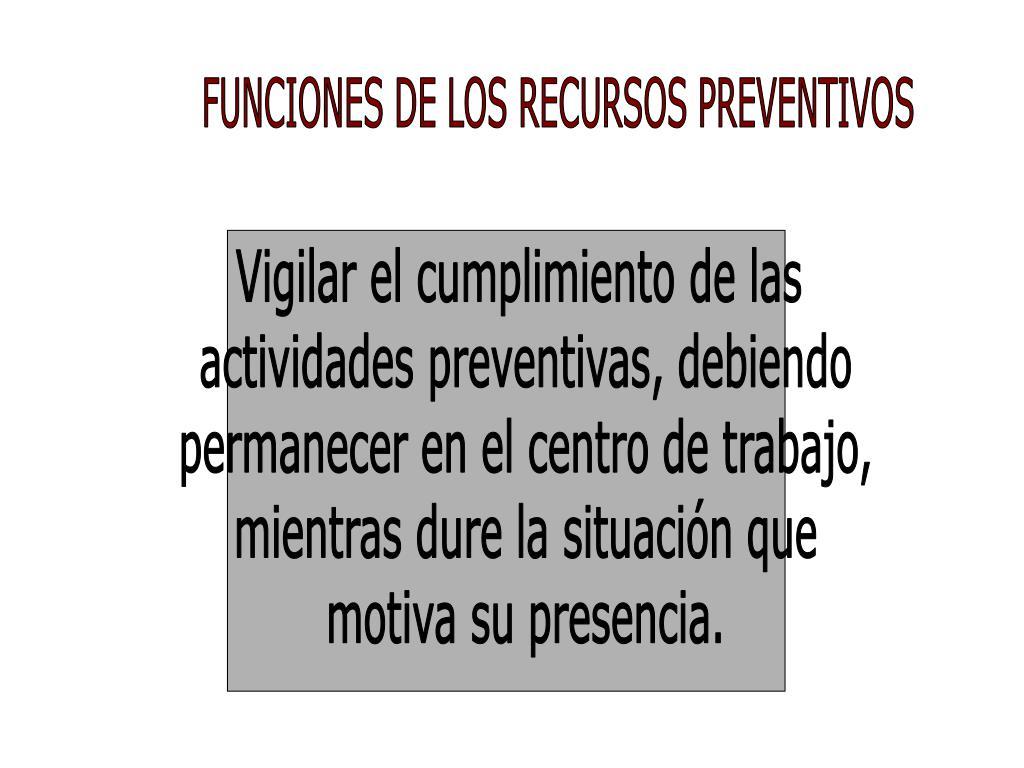 FUNCIONES DE LOS RECURSOS PREVENTIVOS