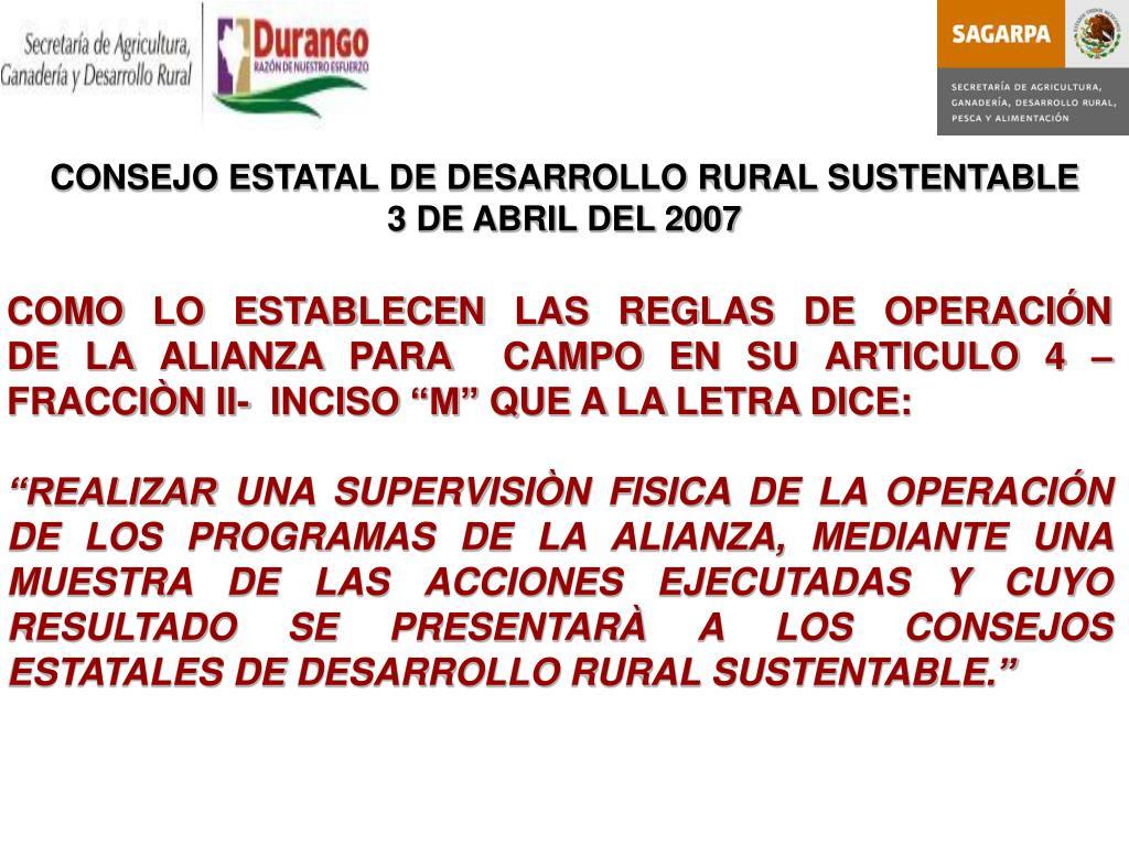 CONSEJO ESTATAL DE DESARROLLO RURAL SUSTENTABLE
