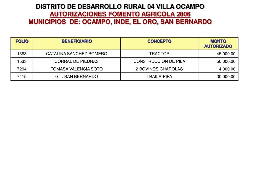 DISTRITO DE DESARROLLO RURAL 04 VILLA OCAMPO