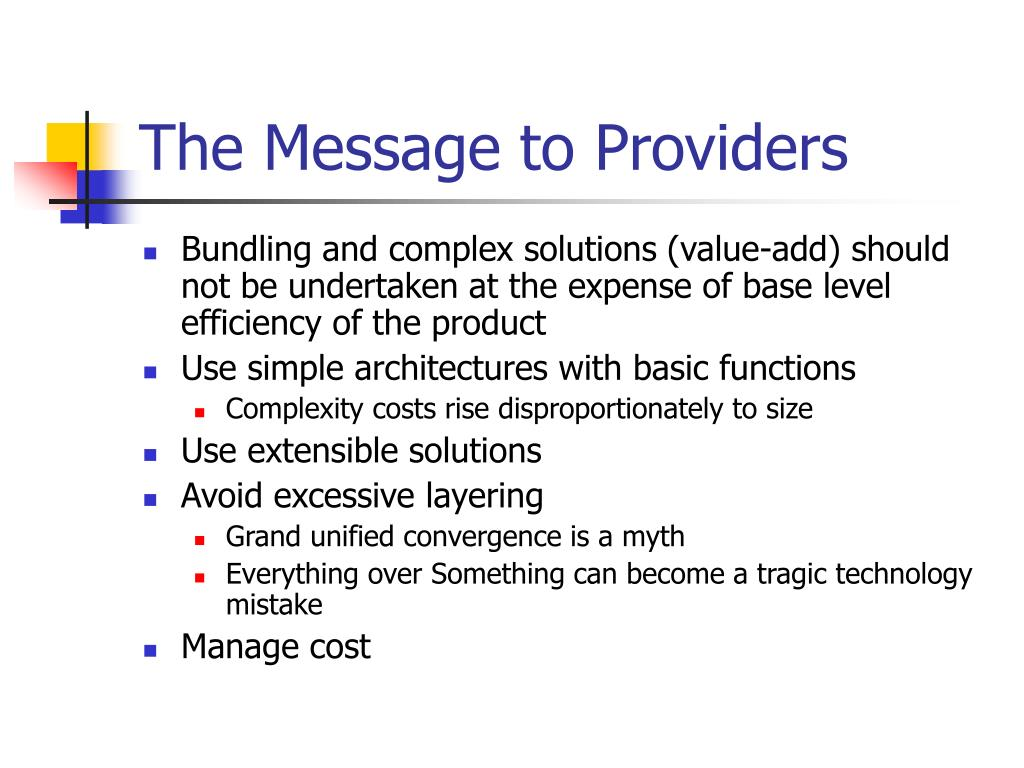 The Message to Providers
