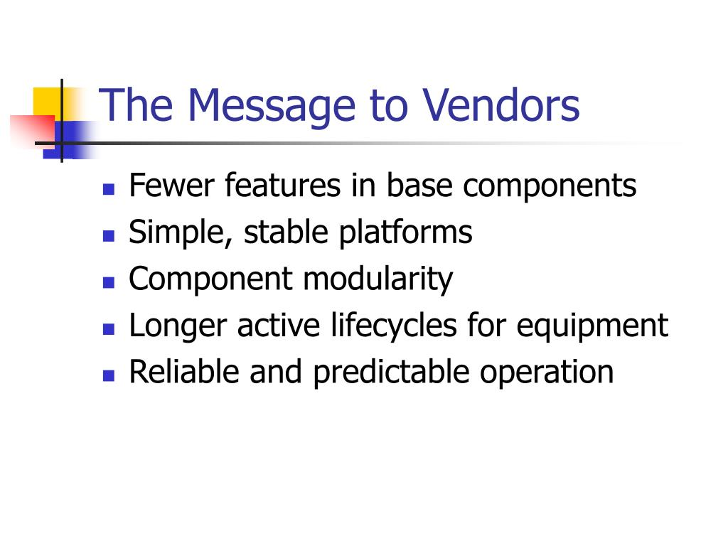 The Message to Vendors