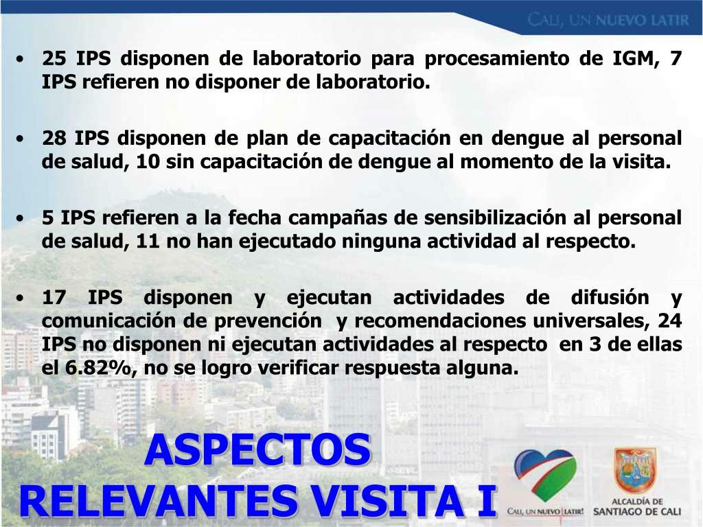ASPECTOS RELEVANTES VISITA I