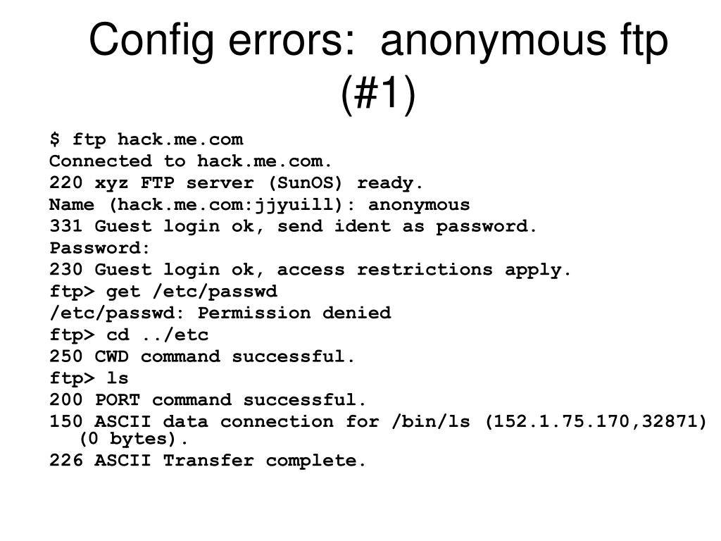 Config errors:  anonymous ftp (#1)