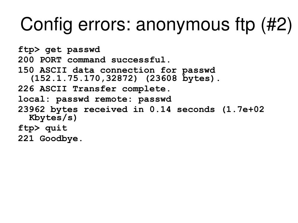 Config errors: anonymous ftp (#2)