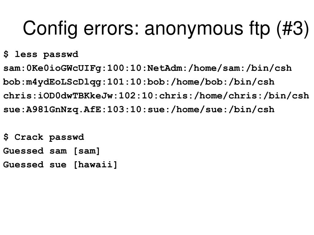 Config errors: anonymous ftp (#3)
