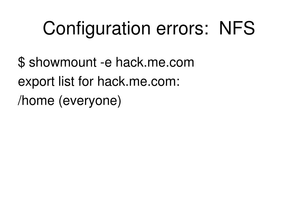 Configuration errors:  NFS