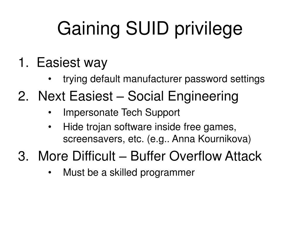 Gaining SUID privilege
