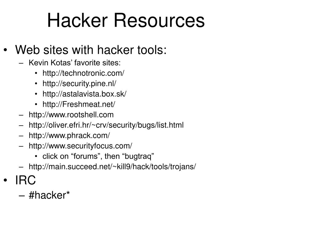 Web sites with hacker tools: