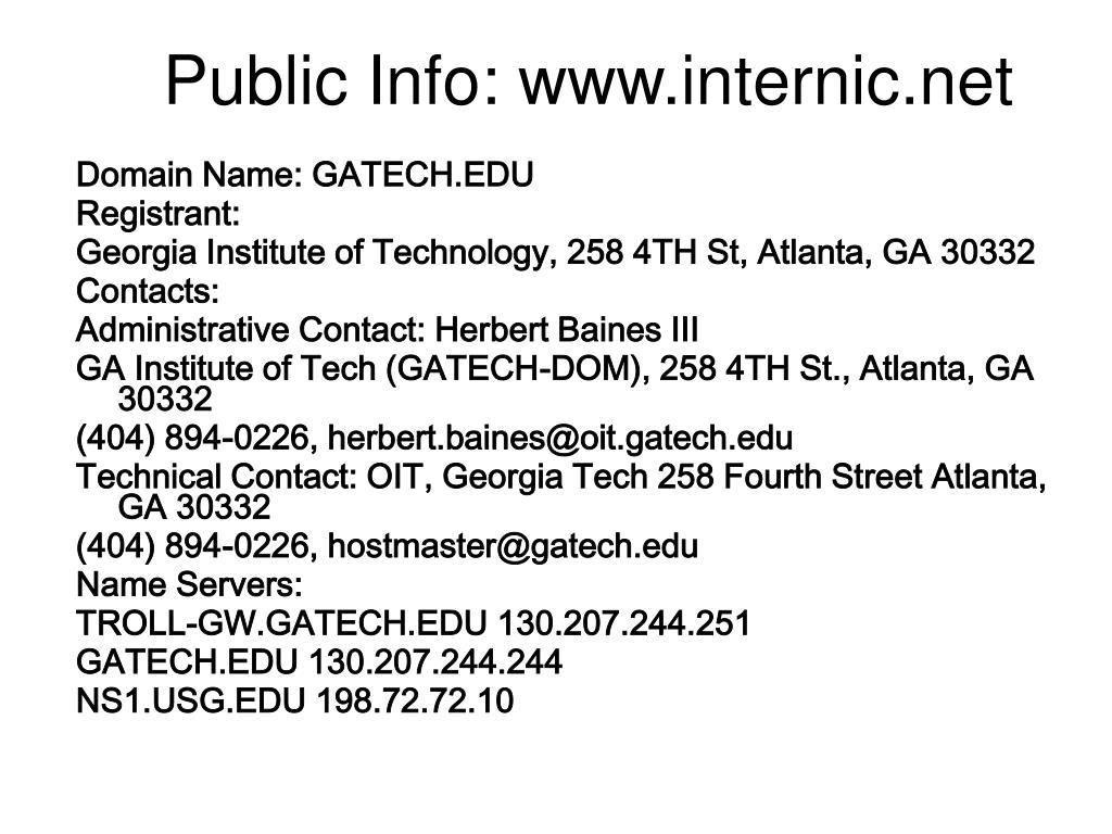 Public Info: www.internic.net