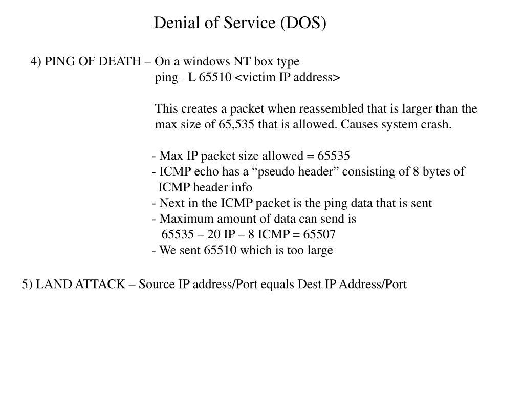 Denial of Service (DOS)