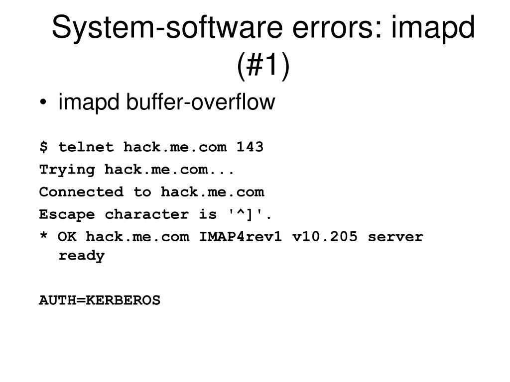 System-software errors: imapd (#1)