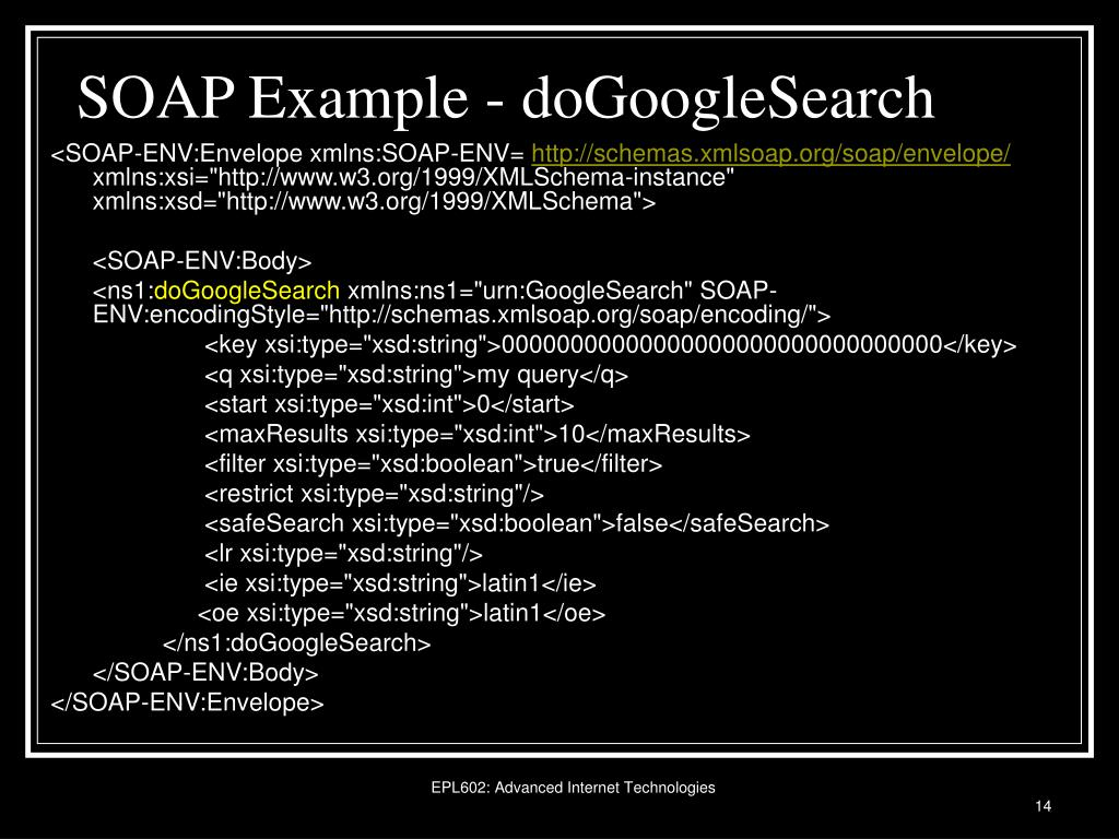 SOAP Example - doGoogleSearch