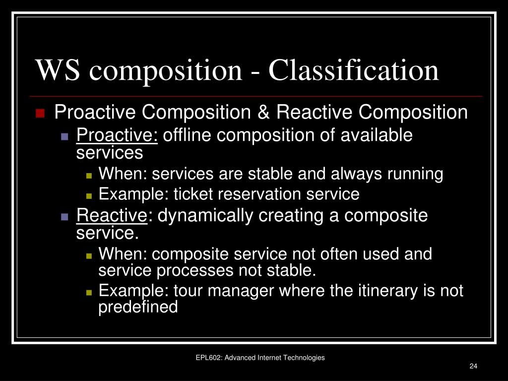 WS composition - Classification
