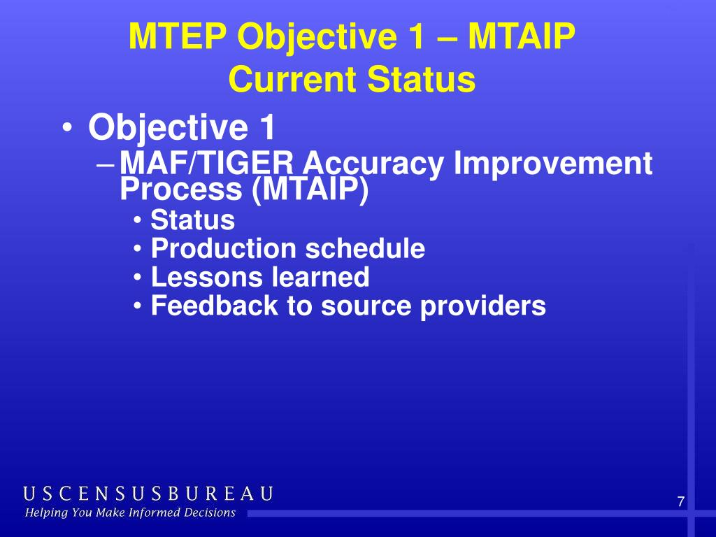 MTEP Objective 1 – MTAIP